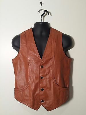 Vintage 1970's Men's Brown Leather Biker Hippie Vest - Money goes to Charity