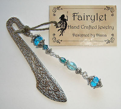 "Bookmark 3"" Silver Jeweled Bookmark W/ Turquoise Swarovski Crystals NEW!"