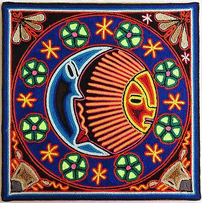"12"" Mexican Huichol Eclipse yarn painting 30 - 001 M"