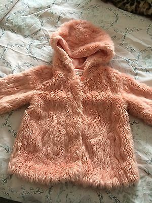 billieblush Girls Fur Pink Coat Age 2