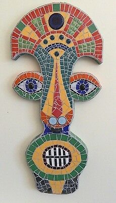 Colorful Tribal Mask  One of a Kind Mosaic Mixed Media Wall Art