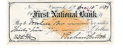 1879 Antique Check  The First National Bank,warwick, New York    Revenue