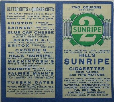 **R & J HILL SUNRIPE *GIFT COUPON* 1920's *VG* Rare