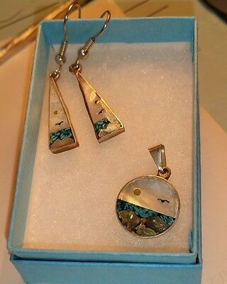 Mexican Silver Ladies Earrings and Pendant Set