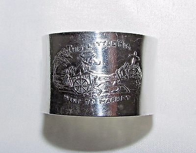 """Antique Sterling Silver Napkin Ring """"This Little Piggy Went to Market"""""""