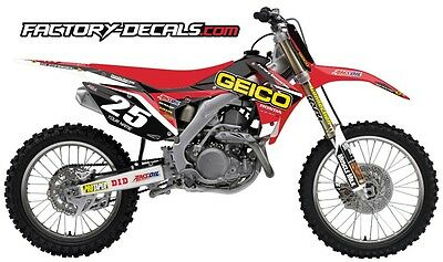 Honda Geico CRF 250 Graphics Decals Full Kit all years 1990 to present