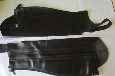Saddlecraft black leather gaiters Size small x long