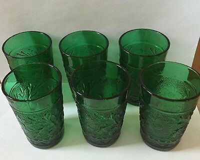 Vintage Forest Green Sandwich Glass  Set Of 6 Water Glasses - Excellent