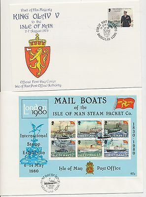 2 Isle of Man 1980 FDC  Steam Packet Co. Mail  Expo mini sheet and King Olav V