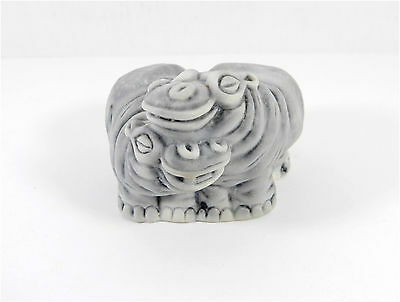 "Pressed marble stone crumb ""Two Hippo in Love"" figurine"