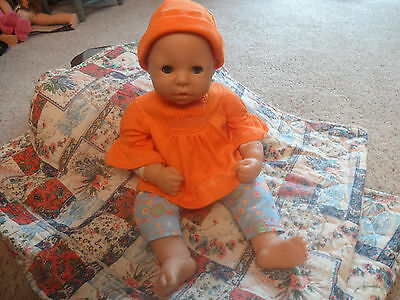ZAPF BABY DOLL 19'' BLUE EYES OPEN/SHUT with EYELASHES VERY GOOD USED, 4 outfits
