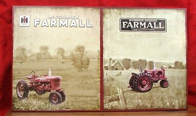 tractor    wooden      pictures  vintage  McCormick in fields  2 per set