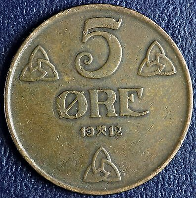 1912 Norway 5 Ore * Low Mintage 520,000