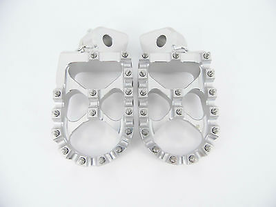 KTM  Foot pegs Footrests WIDE Anodized Silver EXC XC SX SXF 125-530