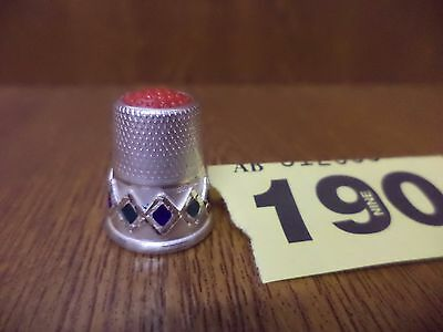 Danish Solid Silver Enamel Thimble - C0053 / .925A1