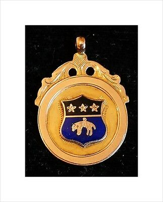 Rare 9ct Gold/Enamel Greyhound Racing Medal. South Leeds Whippet Handicap 1927.