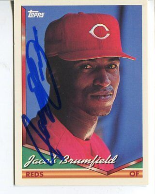 CINCINATTI REDS mlb JACOB BRUMFIELD autograph SIGNED trading card LOT #92