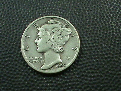 UNITED STATES     10 cents   1942  -  S      SILVER