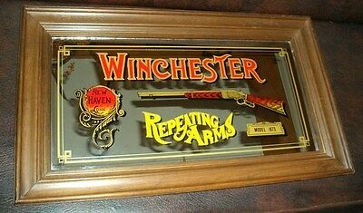 Vintage Winchester Repeating Arms Model 1873 Advertising Mirror New Haven Conn.
