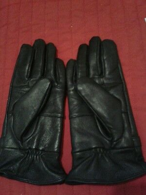 Black Leather Gloves Size L Brand New