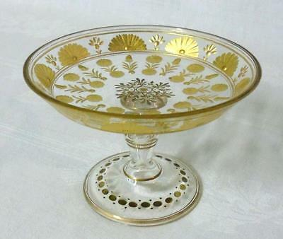 Victorian Edwardian Federal Period Cut Glass Compote Gold Overlay