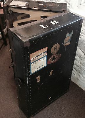 VINTAGE 1920's WARDROBE TRAVEL TRUNK/ PORTMANTEAU WITH WHITE STAR LINE LABELS