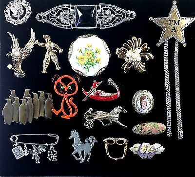 Lot Group Vintage 17 Pin Brooches Animals, Porcelain, Rhinestone, Portrait