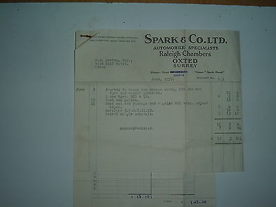 Vintage Billhead from Spark & Co Ltd,Automobile Raleigh Chambers, Oxted, Surrey