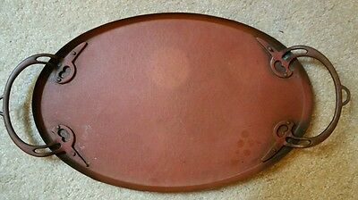 Vintage Early WMF GERMANY ARTS AND CRAFTS HAMMERED COPPER TRAY OSTRICH MARK FINE