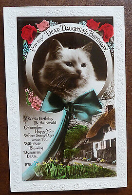 Vintage Cat Postcard- Birthday Greetings Featuring Cat and Cottage posted 1937