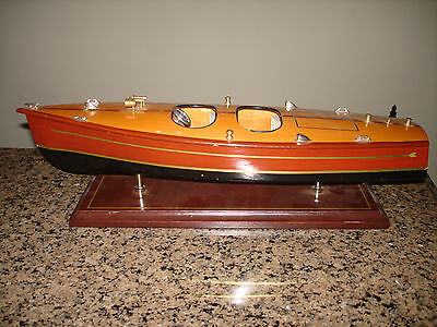 "Vintage Chris Craft Runabout Wood Model 16"" Classic Mahogany Racing Speed Boat"