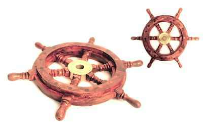 Wooden Ship Steering Wheel Pirate Decor Wood Brass Fishing Wall Boat 12 Inch