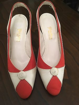 Vintage Orange/red And White Shoes Size 38