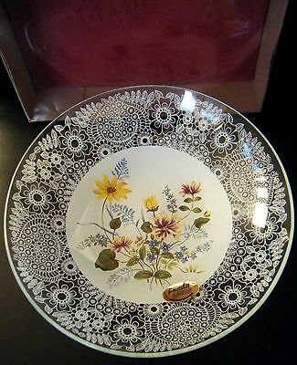 CHANCE GLASS FLORAL PRINTED & FILIGREE LACE BOWL c1970-82