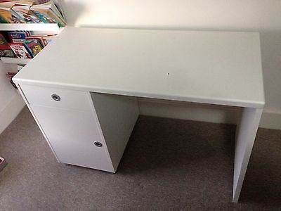 White Wooden Desk With Drawer And Cupboard