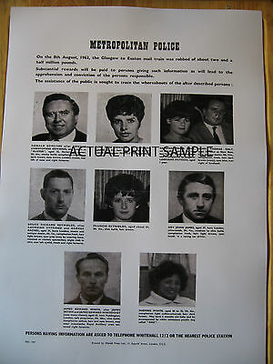Reproduction Metropolitan Police Great Train Robbery Wanted Poster