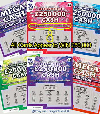 6 x Fake Joke Lottery Scratch Cards -World's Most Realistic - £50,000 - £250,000