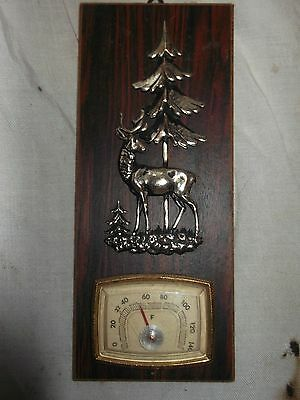 "Vintage room thermometer mounted on wood with brass detail 8"" x 3.5"""