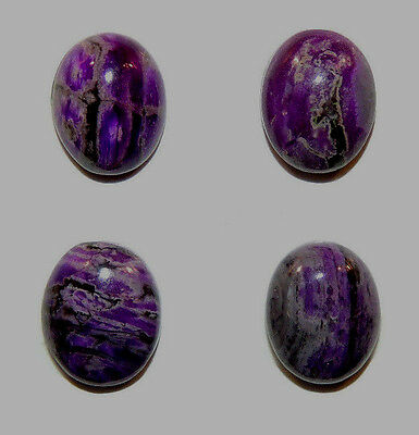 Sugilite Cabochons 8x10mm with 4.5mm dome set of 4 from South Africa  (11705)