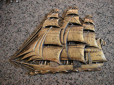 """Vintage Large 16"""" Syroco Gold Clipper Ship, Nautical Wall Art Decor / Plaque"""