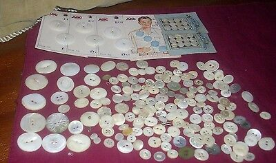 Antique Vintage Buttons Mother Pearl Some On Cards