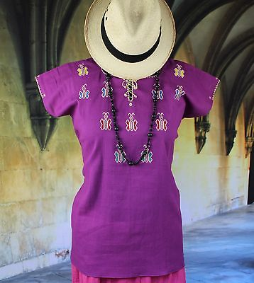 Magenta Huipil Hand Embroidered Butterfiles Mayan Chiapas Mexico Hippie Boho