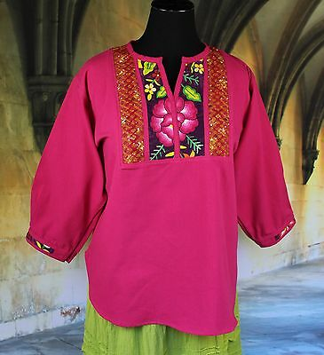 Hot Pink Hand Embroidered Floral Blouse, Tehuana Mexico Blouse Frida Hippie Boho