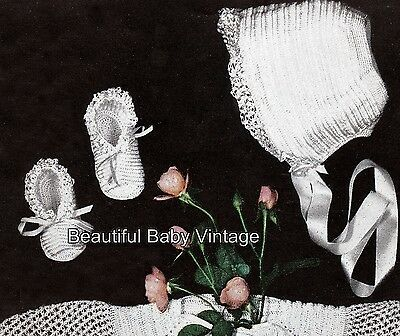 KNITTING CROCHET PATTERN Baby or Dolls Matinee Jacket Bonnet Bootees 4 Ply COPY