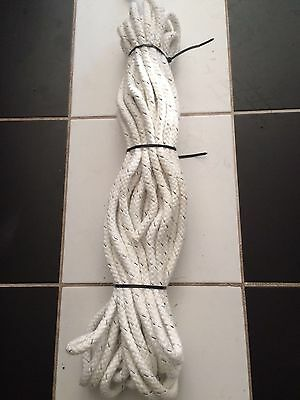 8 plait polyester, 30 metres x 12mm, white with a black fleck in colour
