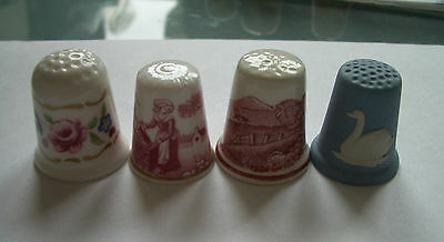 CHINA THIMBLE LOT x4 SPODE WEDGWOOD ADAMS & COALPORT USED