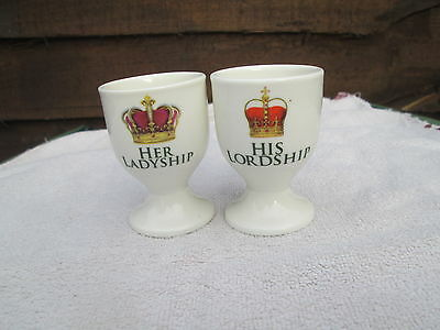 Set Of 2 His Lordship & Her Ladyship Egg Cups with crowns