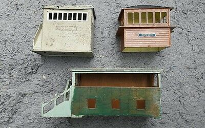 3 Vintage OO  Signal Boxes. One with lights.