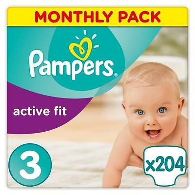 PAMPERS Active Fit Taille 3 - 5 a 9 kg - 204 couches - Format pack 1 mois