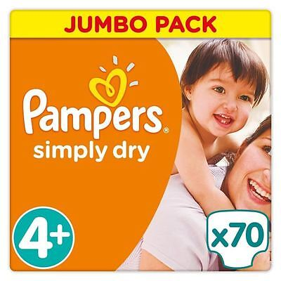 PAMPERS Simply Dry Taille 4+ - 9 a 20kg - 70 couches - Format Jumbo pack